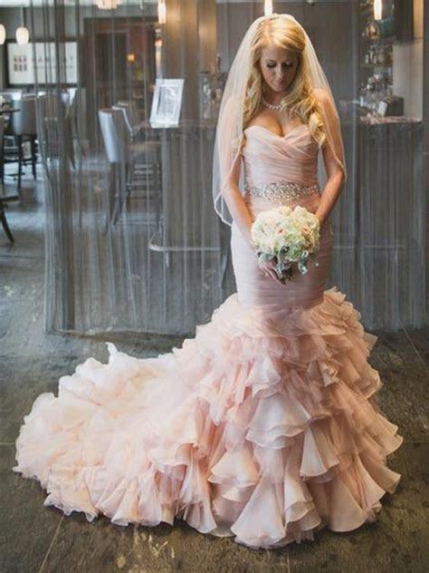 Drapped Light Pink Mermaid Wedding Dresses 2016 Hot Style