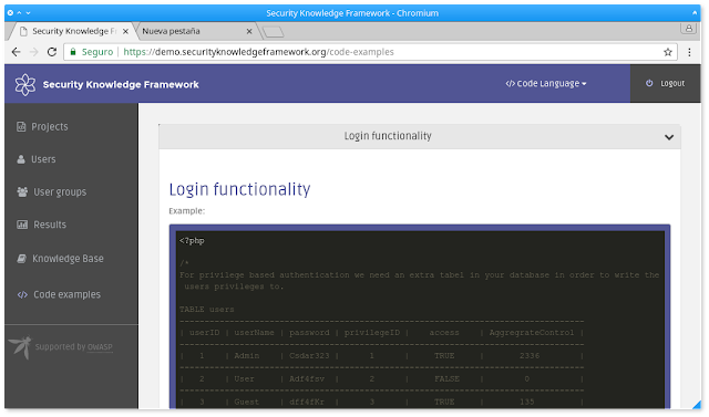 OWASP Security Knowledge Framework - An expert system
