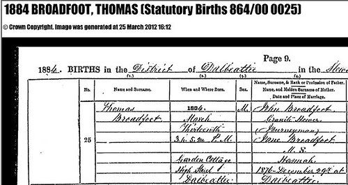 Grandfather's Birth Record by midgefrazel