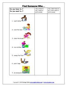 Chores, English vocabulary, printable vocabulary exercises, chores ...