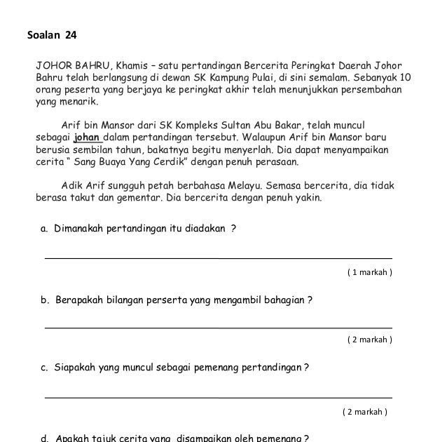 Soalan Bahasa Melayu Pemahaman Tahun 5 Kssr Terengganu T
