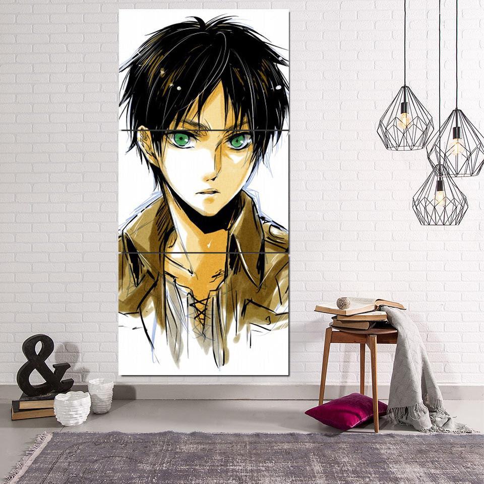Attack On Titan Eren Green Eyes Dope Look 3pcs Canvas Print Justanimethings