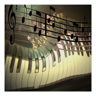 Piano Music Abstract Poster