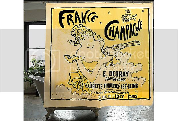 Vintage Parisian Chic French Champagne Woman Shower Curtain Yellow ...