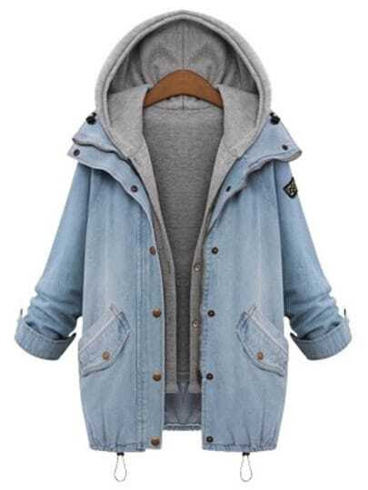 Hooded Drawstring Boyfriend Trends Jean Swish Pockets Two Piece Coat pictures
