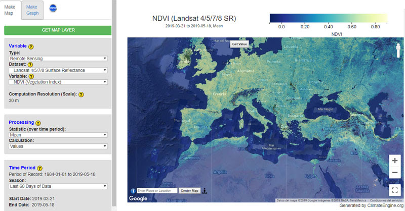 Download climate data with Climate Engine