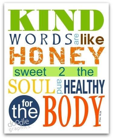 Inspirational Art Print Kind Words Green 5 X 7
