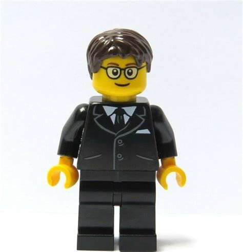 Lego Groom Minifigure Black Suit Glasses Brown Hair