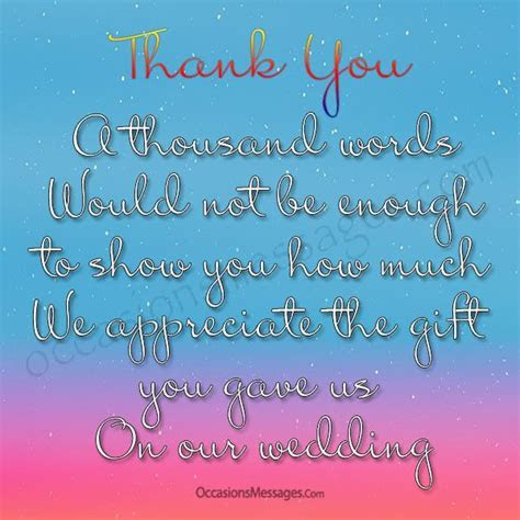 Thank you Messages for Wedding Gift   Occasions Messages