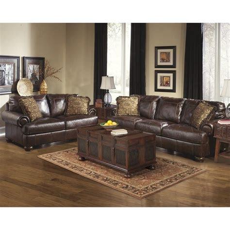 ashley furniture axiom  piece leather sofa set  walnut