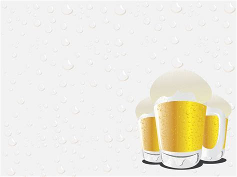 Beer Glasses Powerpoint Templates   Food & Drink, Yellow