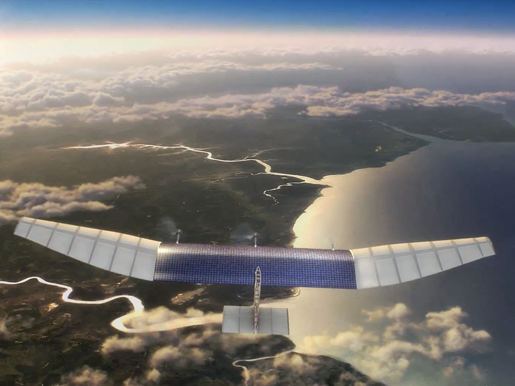 A still from an promotional video showing how Facebook and Internet.org will deliver internet access via aerial drone.