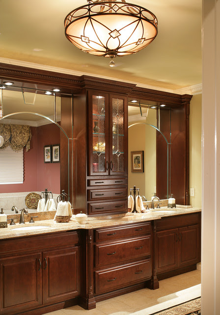 Dark Wood Master Bathroom and Lighting - traditional - bathroom ...