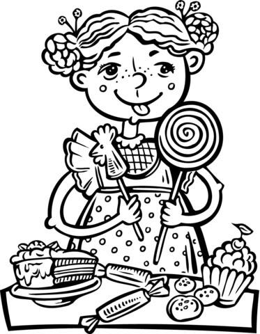 Disegno Di Ragazzina Mangia Caramelle E Snack Da Colorare Disegni