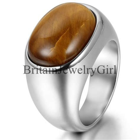 Mens Silver Stainless Steel Cool Artificial Tiger Eye