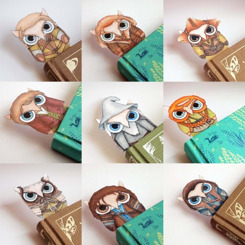 The Hobbit owl bookmarks (Legolas, Fili, Nori, Bilbo, Gandalf, Bombur, Dwalin, Kili, and Thorin Oakenshield)