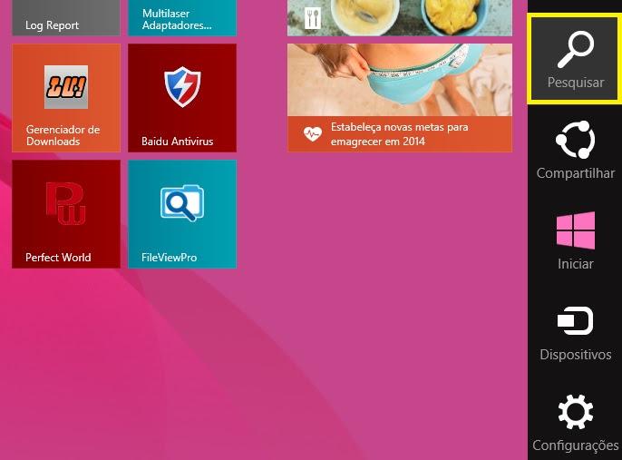 Menu Iniciar do Windows 8 (Foto: Reprodução/Marcela Vaz)