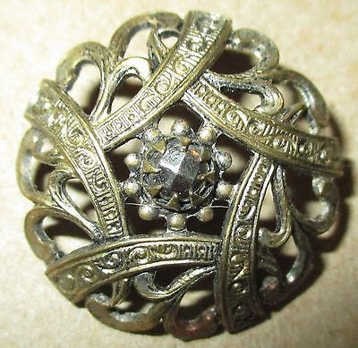 Antique Victorian Brass Metal Pierced Openwork Button  w Cut Steels - Medium Sz