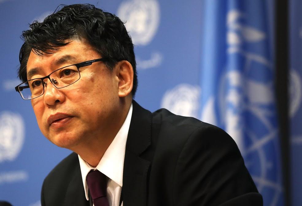 Kim In Ryong, embaixador adjunto da Coreia do Norte na ONU, diz que país está pronto para reagir 'a qualquer tipo de guerra' dos EUA (Foto: SPENCER PLATT / GETTY IMAGES NORTH AMERICA / AFP)