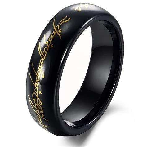 Tungsten Black & Gold Lord of Ring Mens Ring Size 6 10 in