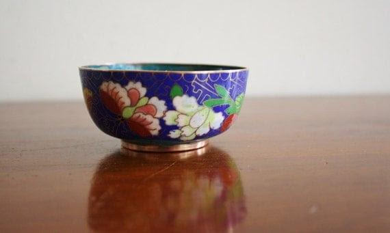 Vintage cloisonne enamel and brass bowl, vintage