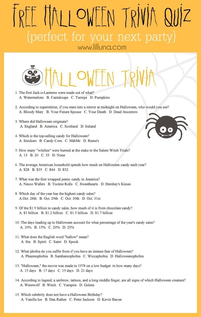 30 EASY 5 MINUTE SPOOKY QUIZ ANSWERS