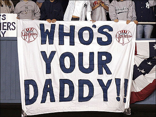 After Pedro Martinez tipped his cap and called the Yankees his Daddy last season, you knew Yankee fans weren't going to let that comment slide. These photos are from Game 2 of the ALCS on Oct. 13, 2004.