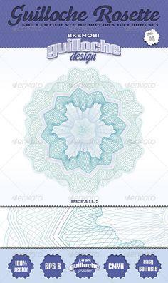 Guilloche Rosette Vol.17 | Pattern Print, Contours and Badges