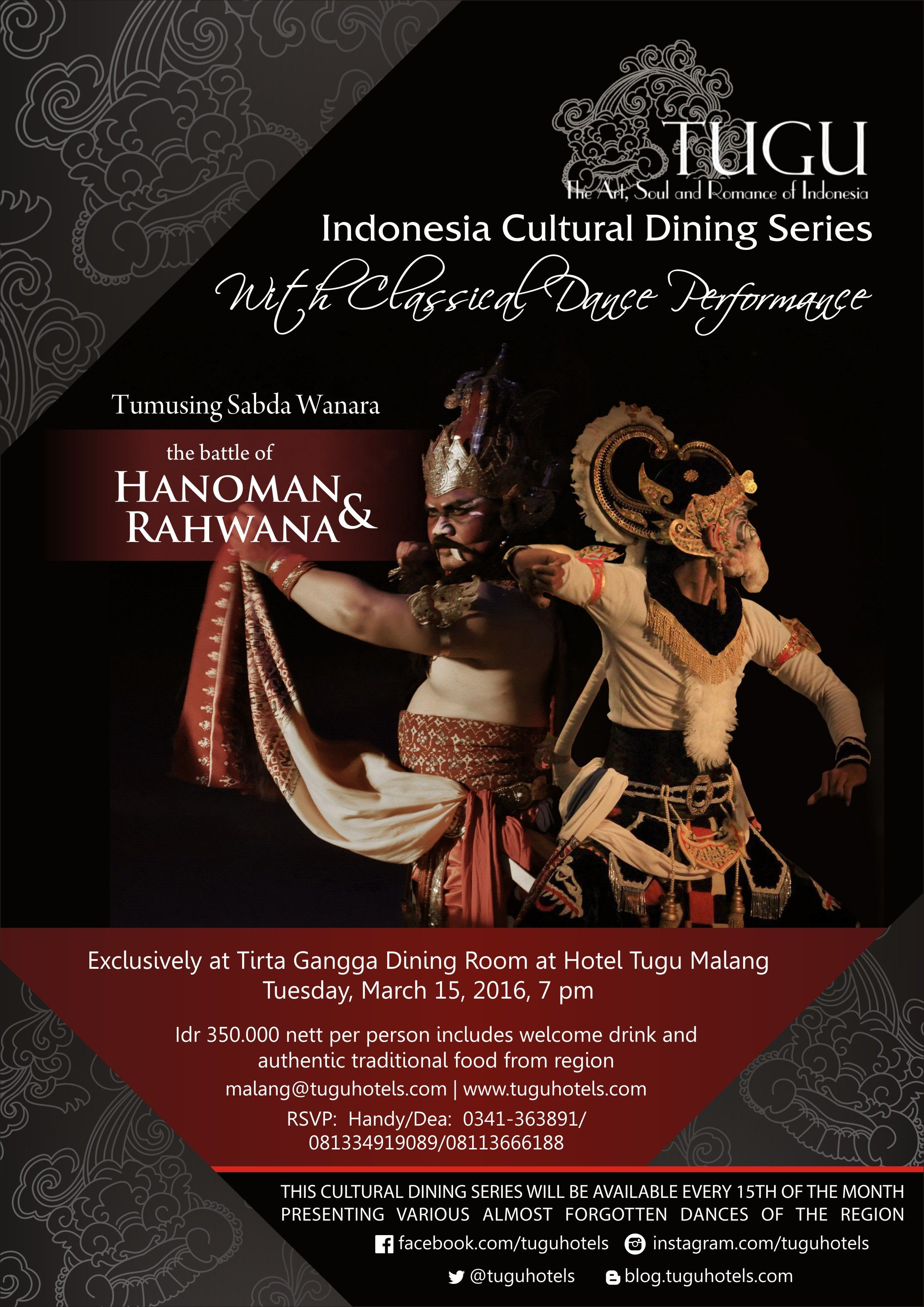 Indonesia Cultural Dining Series at Hotel Tugu Malang  Whats on @Tugu