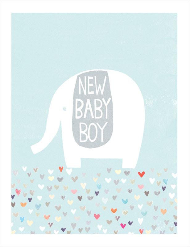 Paper Salad Boy Silver Elephant Baby Card Ja1869