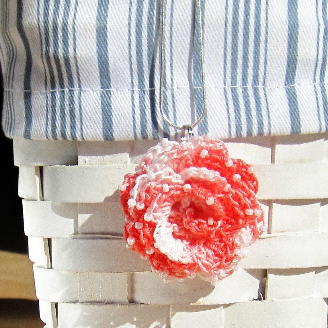 Beautiful beaded crochet flower pendant