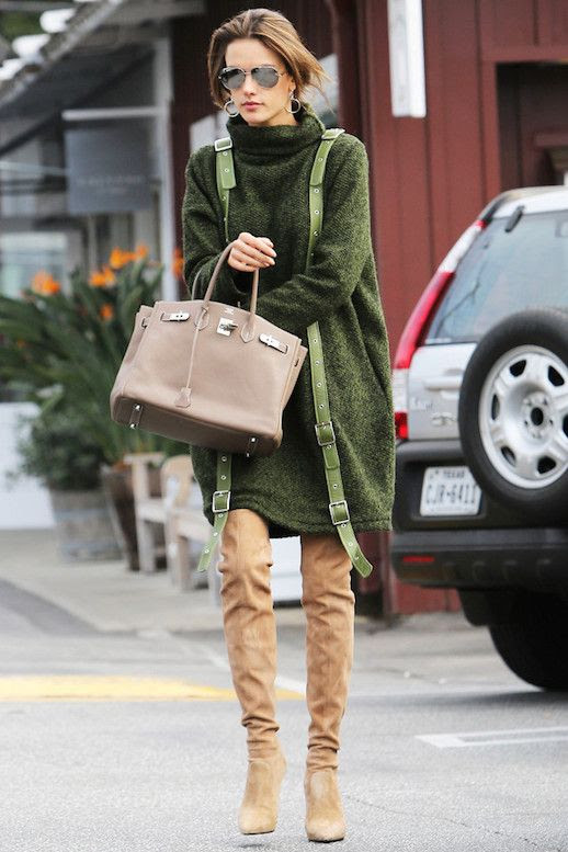 Le Fashion Blog Alessandra A Green Sweater Dress Thigh High Boots Via Who What Wear