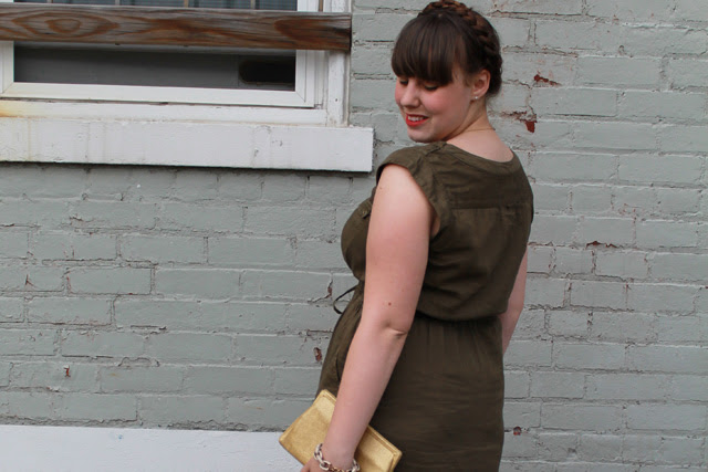"Olive you outfit: olive green military shirt dress ""Drawstring Safari Dress"" from Anthropologie, gold Dolce Vita  Archer T-strap sandals from Urban Outfitters, vintage gold clutch, maiden braids"