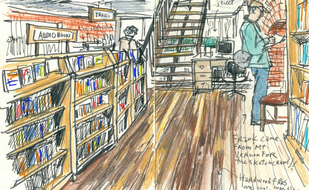 Sketching At Historic Bookstore In Seattle