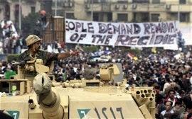 Cairo demonstrators and military
