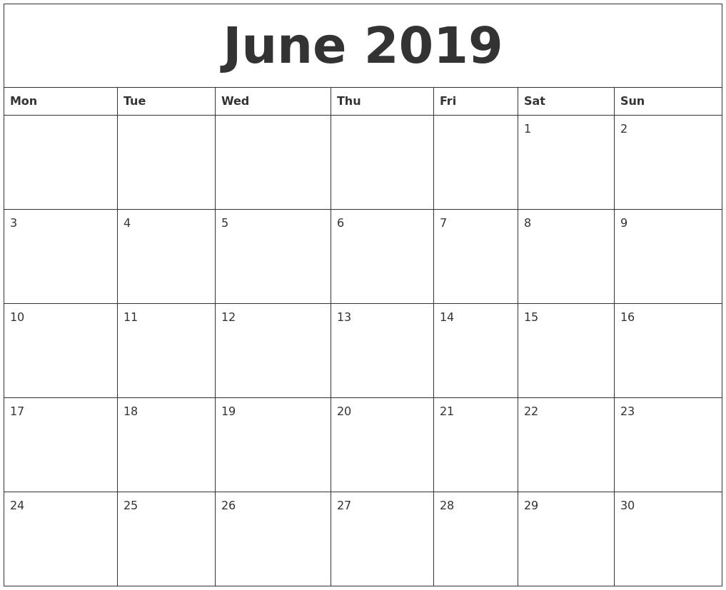 june 2019 blank monthly calendar template monday start