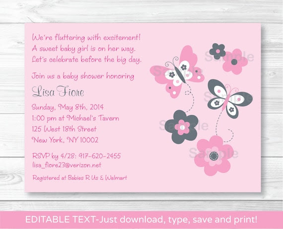 Pink Gray Butterfly Flowers Printable Baby Shower Invitation ...