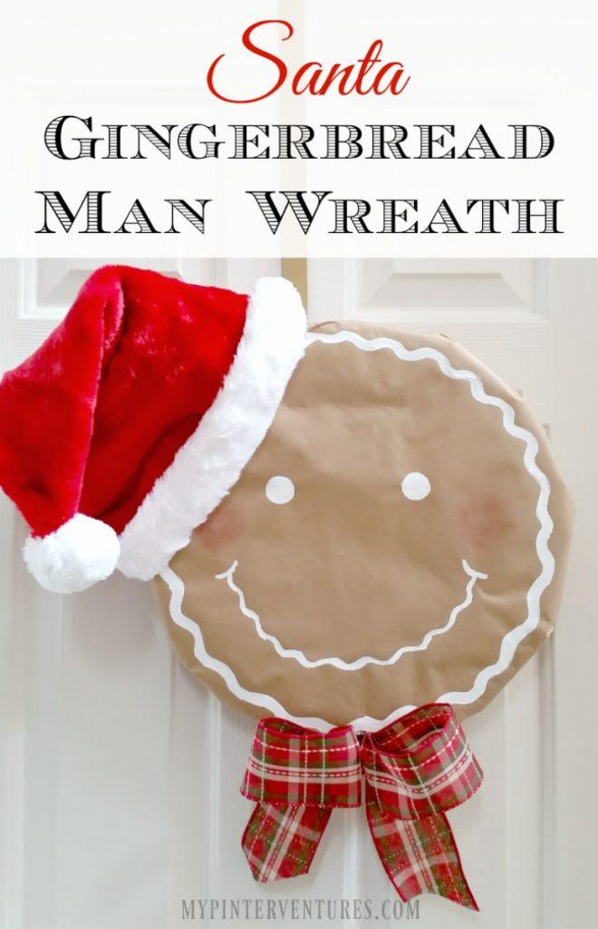 Santa Gingerbread Man Wreath - butcher paper, styrofoam wreath form, Santa hat, paint, and ribbon.