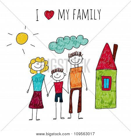 Vector Illustration I Love My Family Poster Id109563017