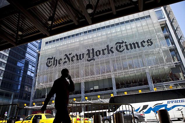 """Vista da fachada do prédio do jornal """"New York Times"""", em Nova York, nos EUA"""