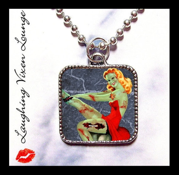 Zombie Pinup Necklace - Zombie Necklace Jewelry - Halloween Horror Jewelry - Zombie Pin Up - Buy 2 Get 1 Free