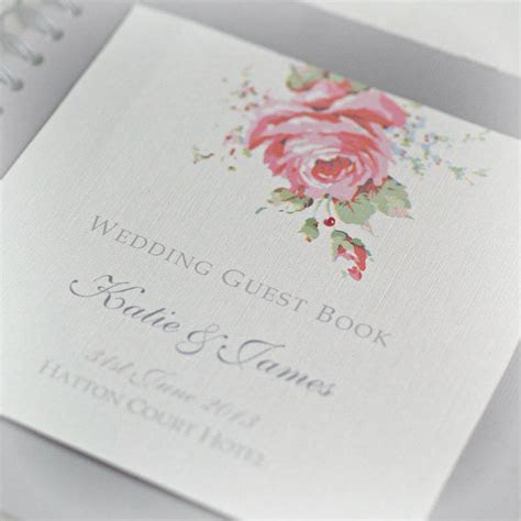 english rose design wedding guestbook by beautiful day