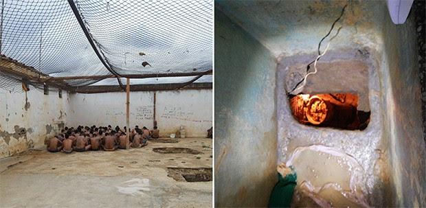 Durante a revista, presos foram colocados no pátio. Imagem também mostra que o túnel estava iluminado (Foto: G1/RN)