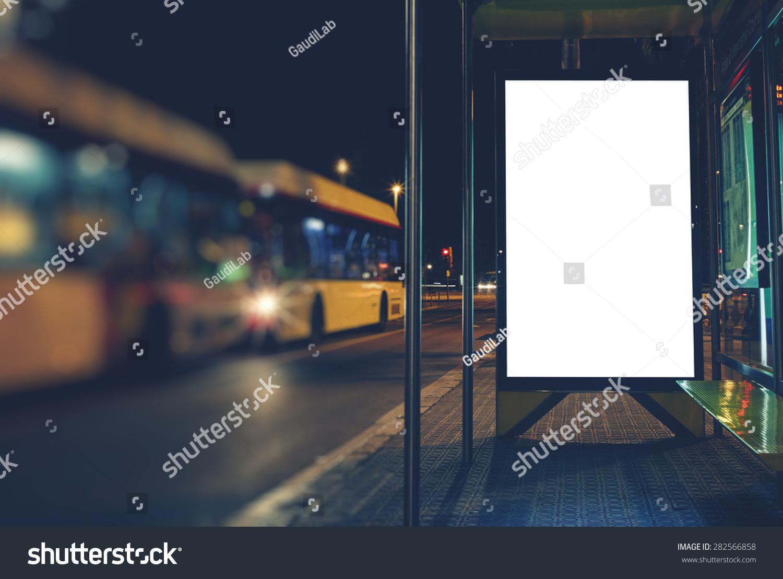 Illuminated Blank Billboard Copy Space Your Stock Photo 282566858 ...