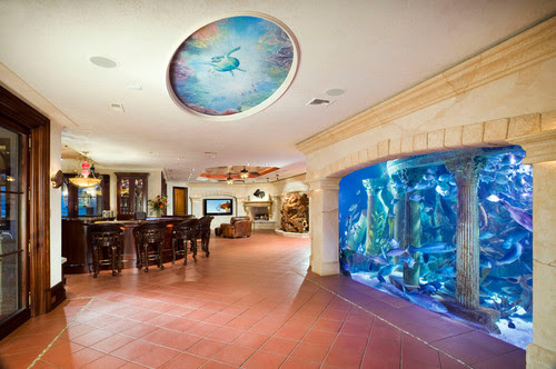 Really Cool Basement Interior Design Photos - Basement Bar and Aquarium | Live Love in the Home