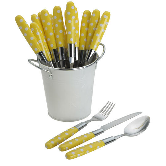 18 Piece Yellow Flatware With Pail Caddy