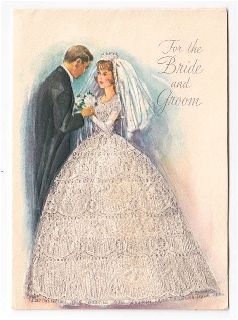 Vintage Greeting Card Cute Wedding Bride & Groom 1960s