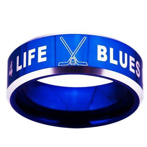 St. Louis Blues NHL Ring logo 8mm Tungsten Carbide Blue