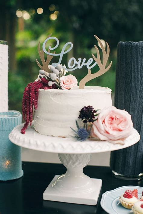 Antler cake topper for whimsical woodland wedding
