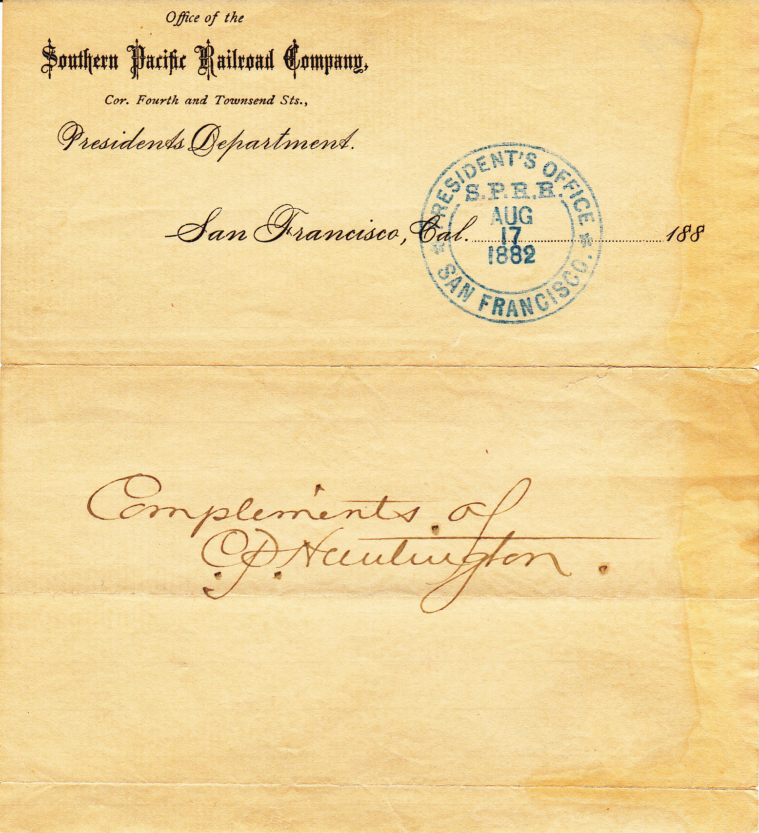 Note accompanying CPRR Rail Pass, 1882, 'compliments of C.P. Huntington.'